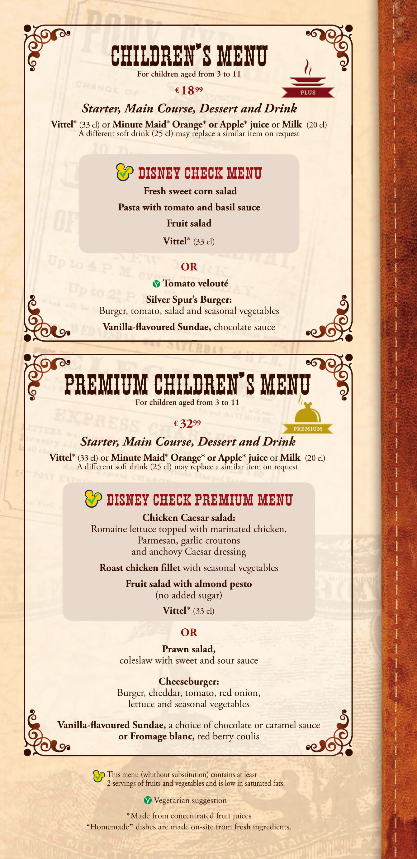 Silver Spur Steakhouse - Children's Menu at Disneyland Paris