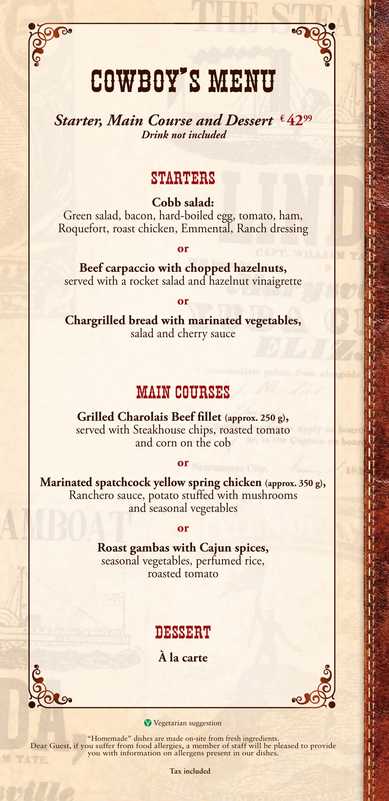 Silver Spur Steakhouse - Cowboy Set Menu at Disneyland Paris
