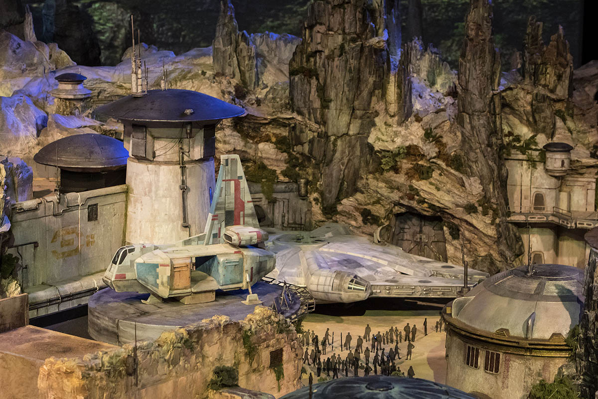 Star Wars Land model at Disneyland Resort and Walt Disney World