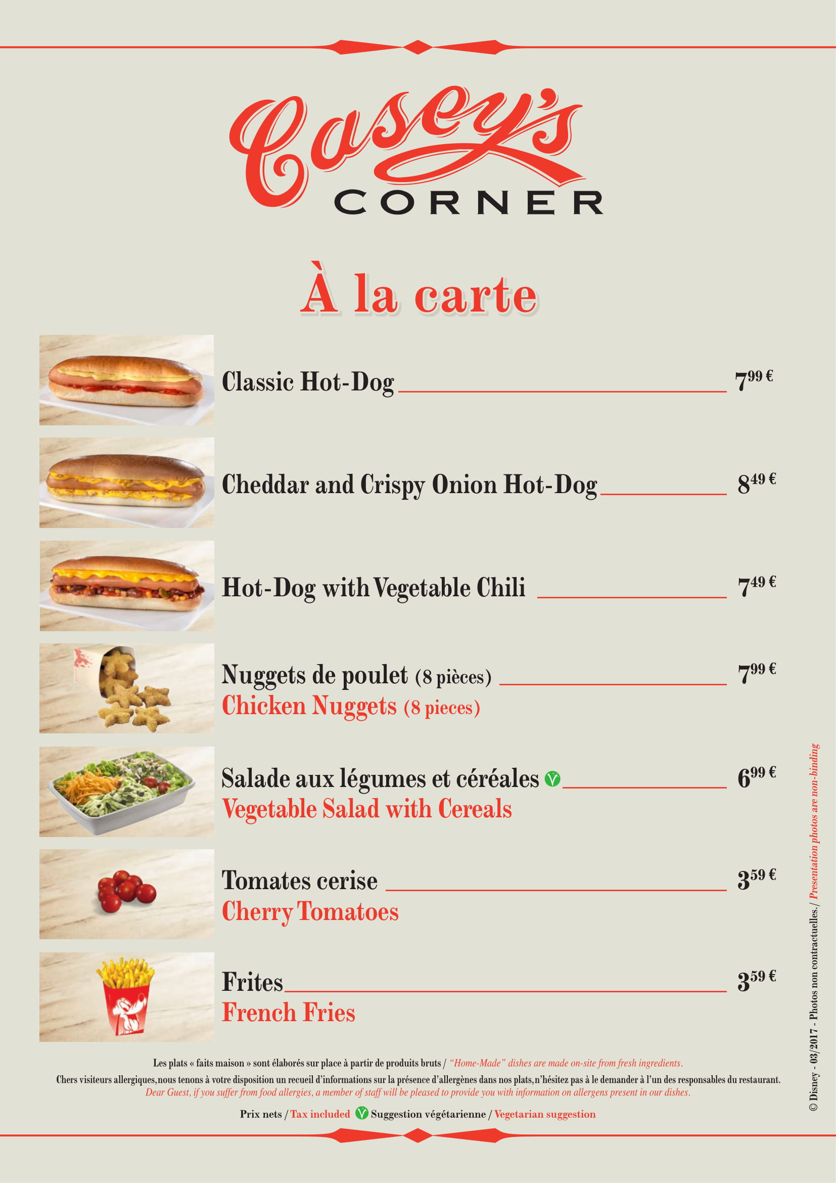 Casey's Corner menu in Disneyland Paris - 1