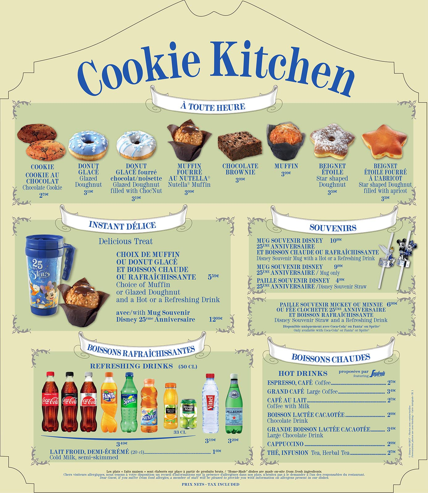 Cookie Kitchen Menu at Disneyland Paris
