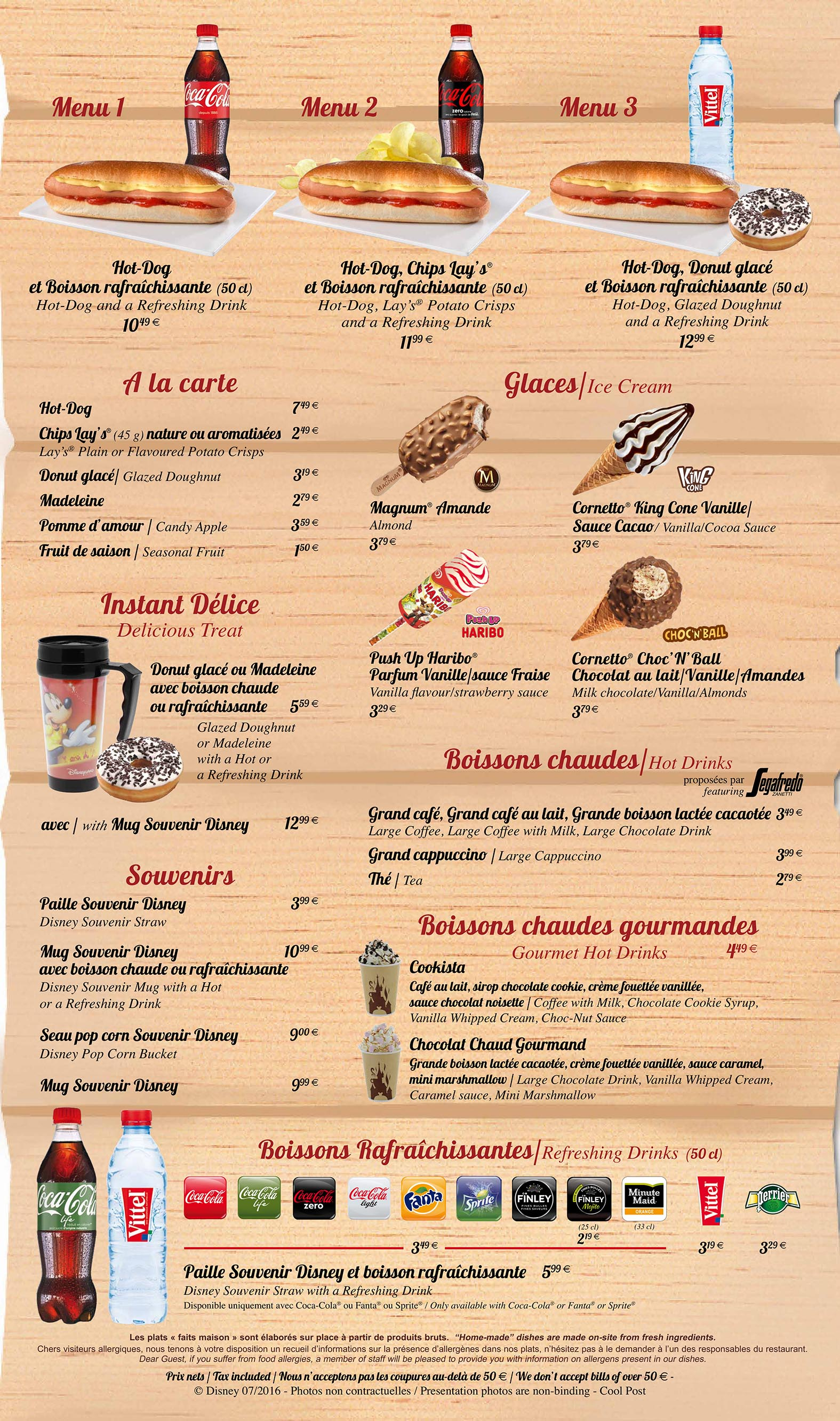 Disneyland Paris Cool Post Menu