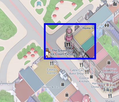 Map to the Gibson Girl Ice Cream Parlour in Disneyland Paris