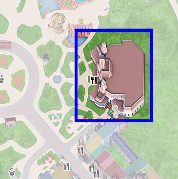 A map of Plaza Gardens at Disneyland Paris
