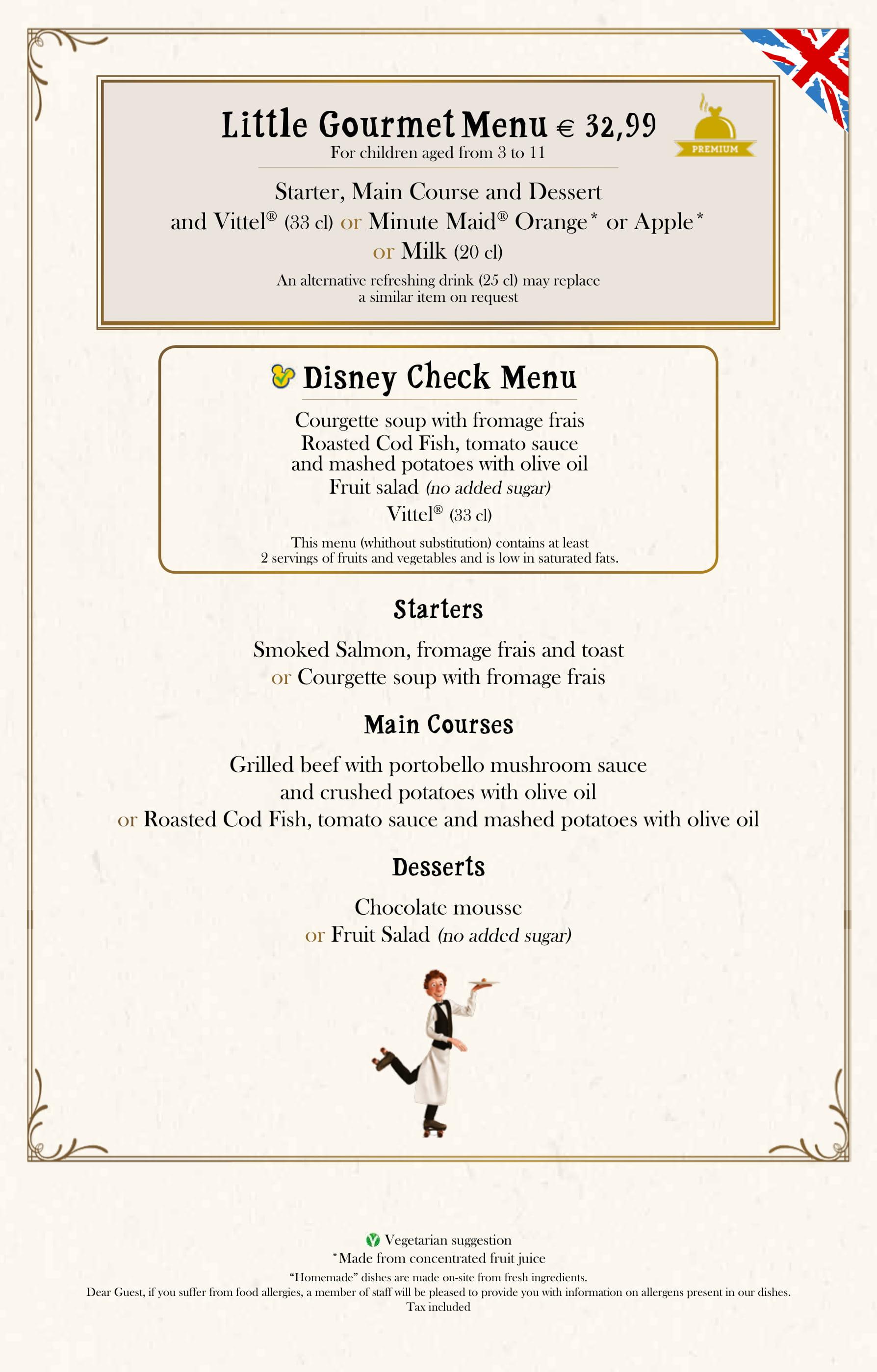 Bistrot Chez Rémy Children's Menu at Disneyland Paris