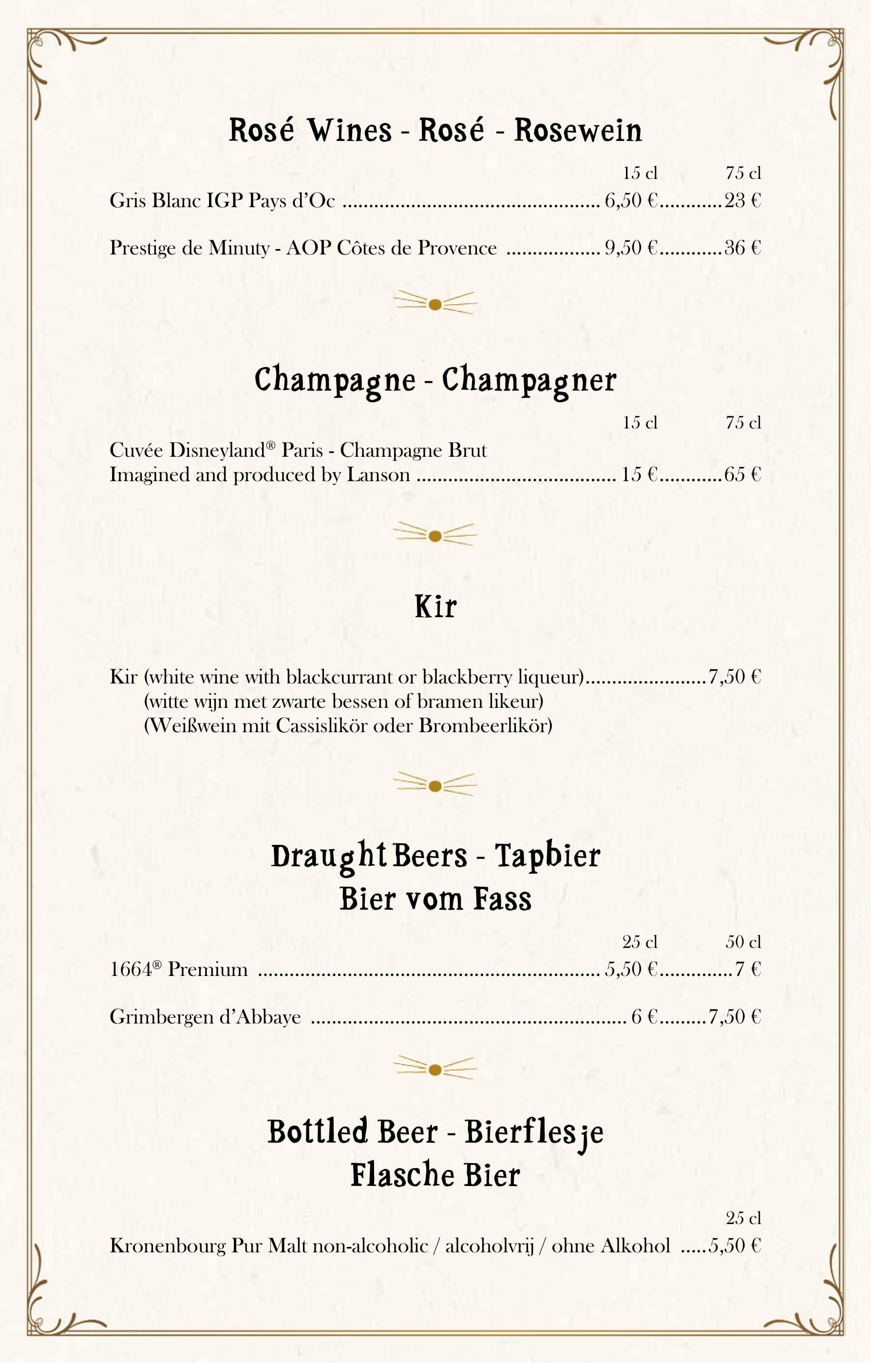Bistrot Chez Rémy Wine List at Disneyland Paris