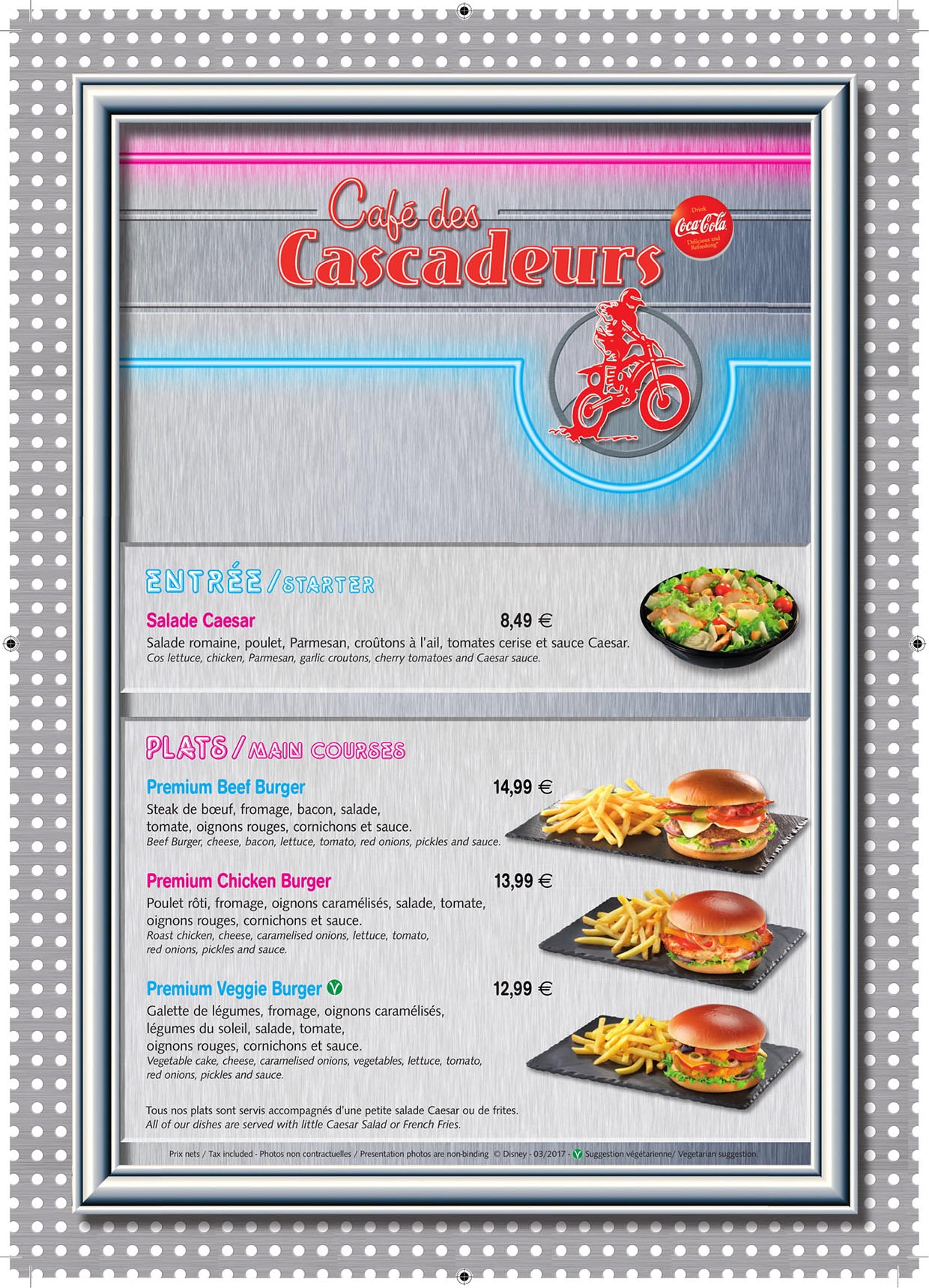 Disneyland Paris Cafe des Cascadeurs Menu