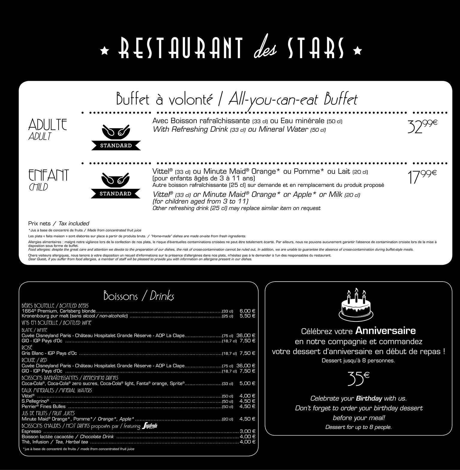 The Restaurant des Stars menu at Disneyland Paris