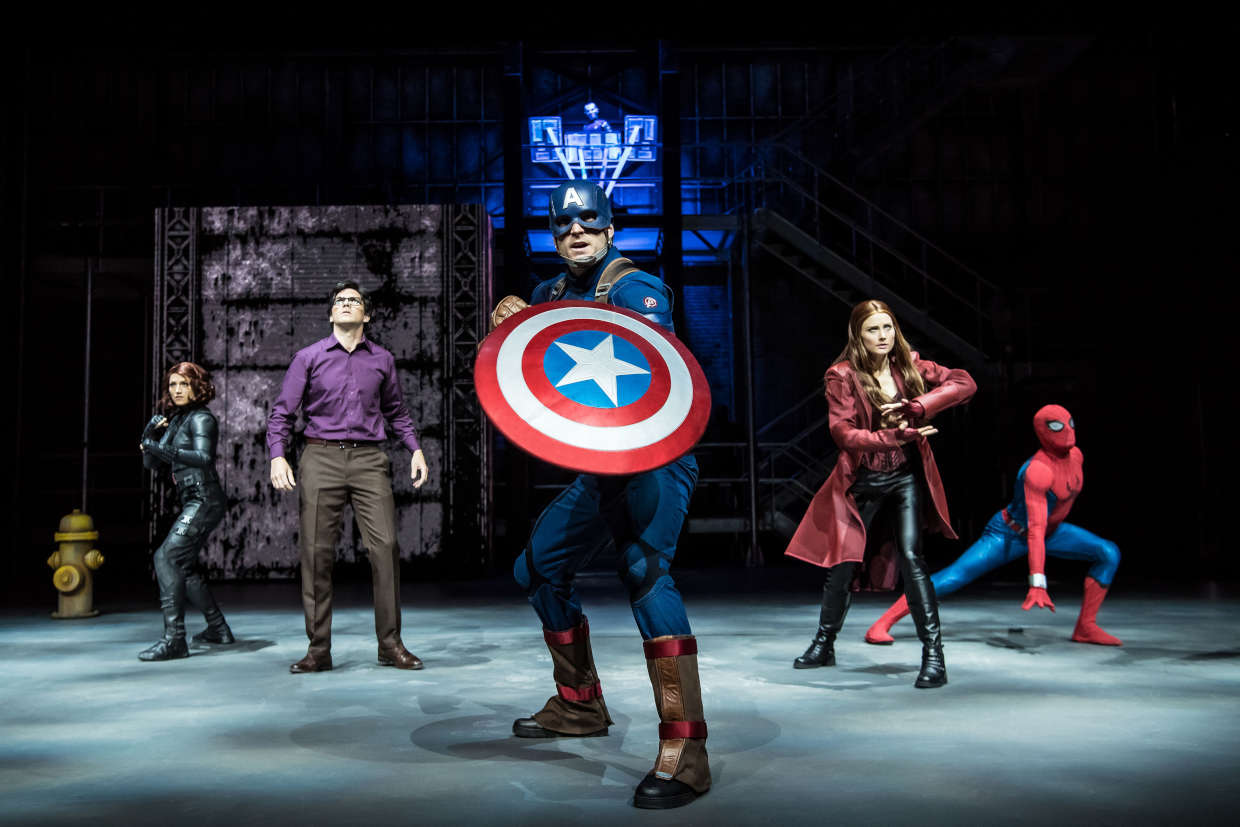 The Avengers during the Marvel Super Heroes United show at Disneyland Paris's Marvel Summer of Super Heroes