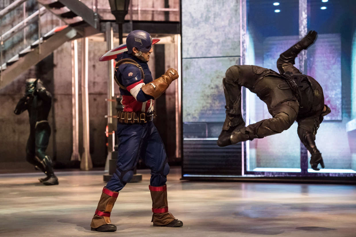 Captain America in action at the Marvel Super Heroes United show at Disneyland Paris's Marvel Summer of Super Heroes