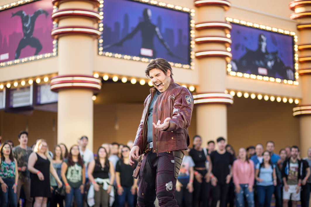 Peter Quill on Air Guitar during the Guardians of the Galaxy Awesome Dance Off at Disneyland Paris's Marvel Summer of Super Heroes