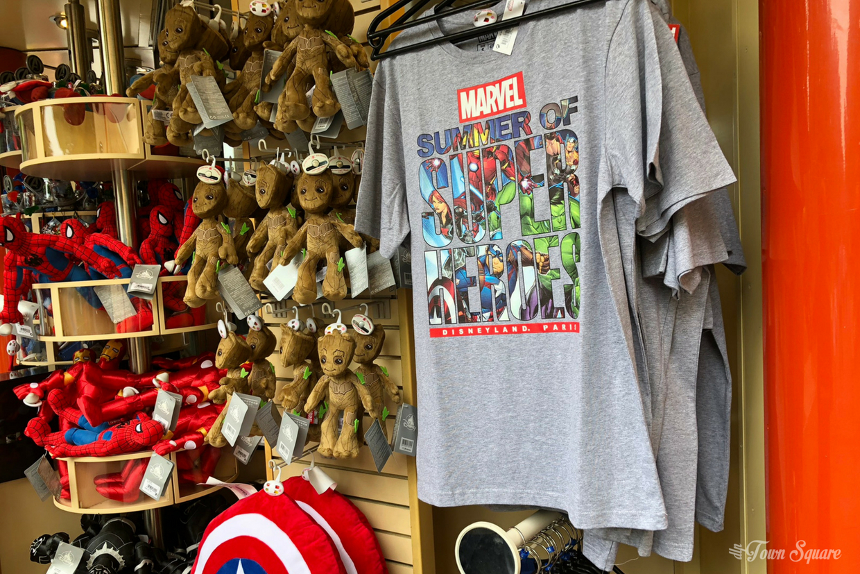 Marvel Summer of Super Heroes souvenirs at Disneyland Paris including t-shirts, plush toy Groots.