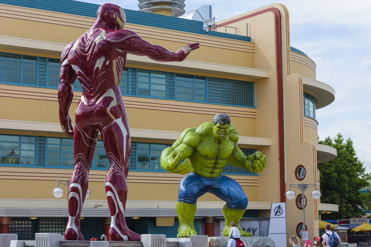 Iron Man and the Hulk face off at Disneyland Paris during the Marvel Summer of Super Heroes