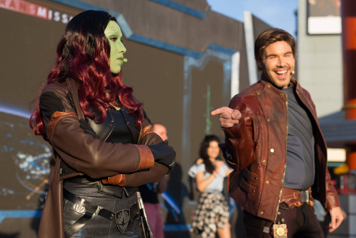 Star Lord and Gamora during the Guardians of the Galaxy: Awesome Dance Off at Disneyland Paris's Marvel Summer of Super Heroes