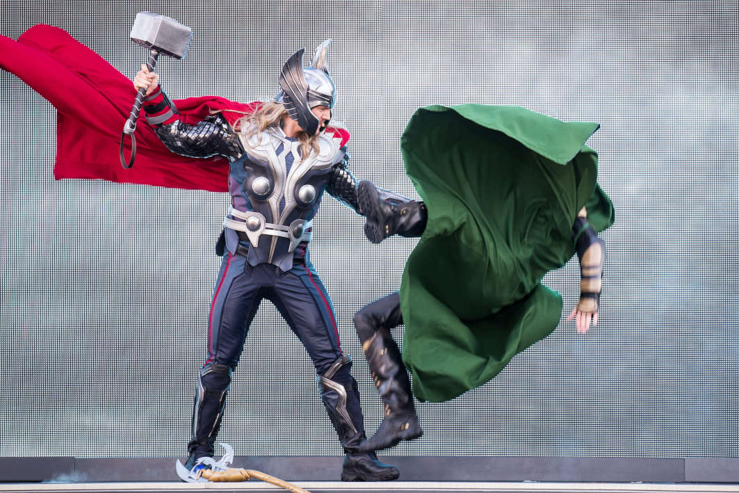 Stark Expo show at Disneyland Paris during the Marvel Summer. Loki and Thor face-off