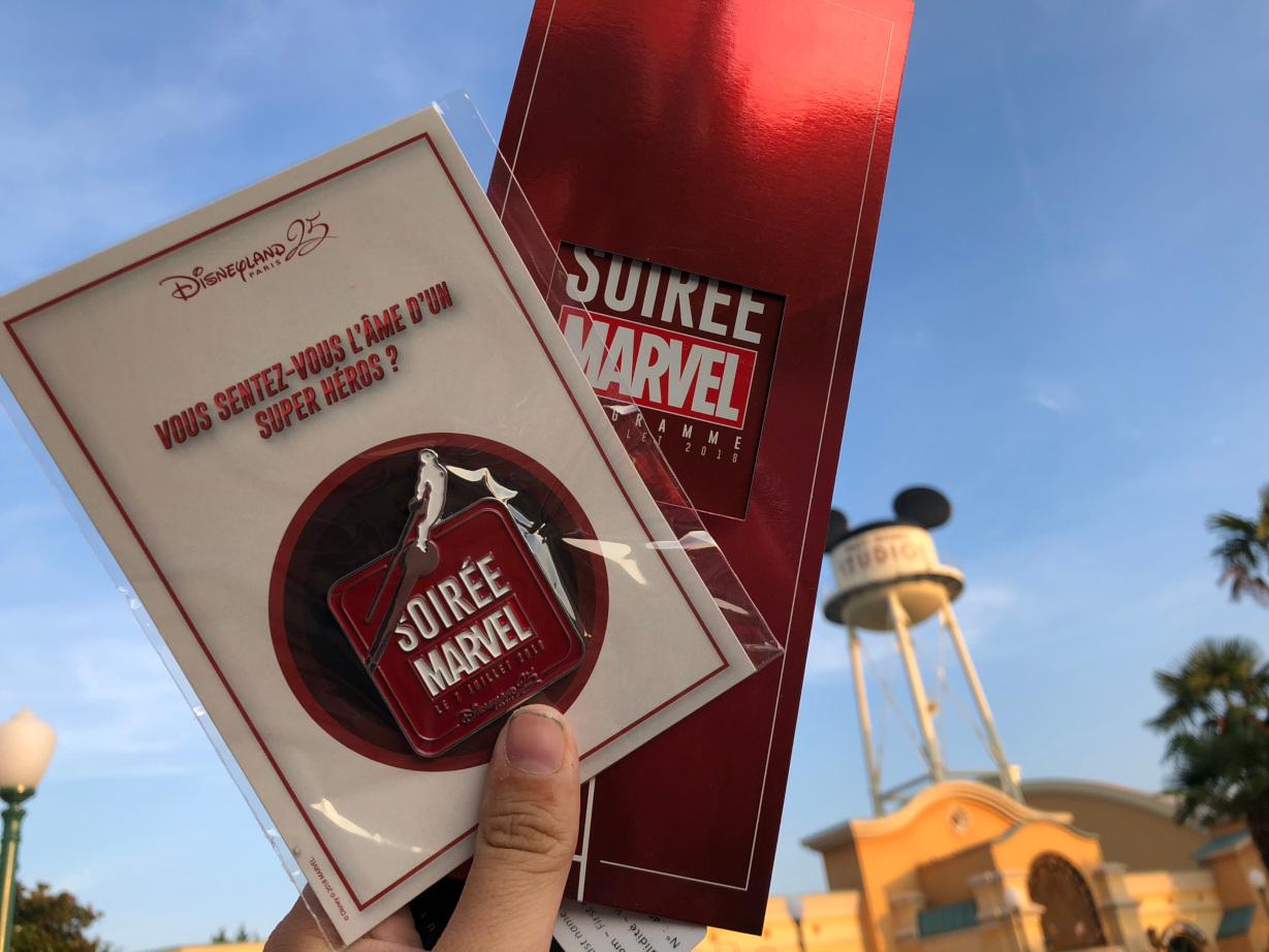 Soirée Marvel Programme and pin at Disneyland Paris