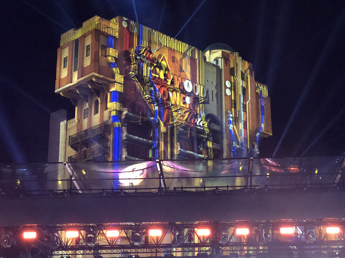 Mission Breakout projected on Tower of Terror at Electroland, Disneyland Paris