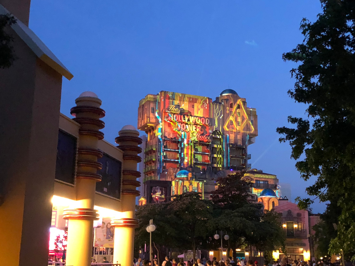 Guardians of the Galaxy: Mission Breakout projected onto the Hollywood Tower Hotel at Disneyland Paris during the Soirée Marvel