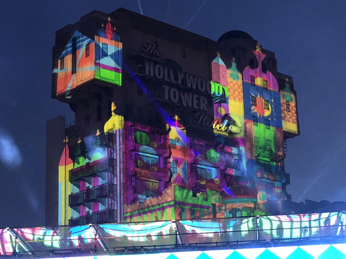 """it's a small world"" projected onto the Tower of Terror during Electroland at Disneyland Paris"