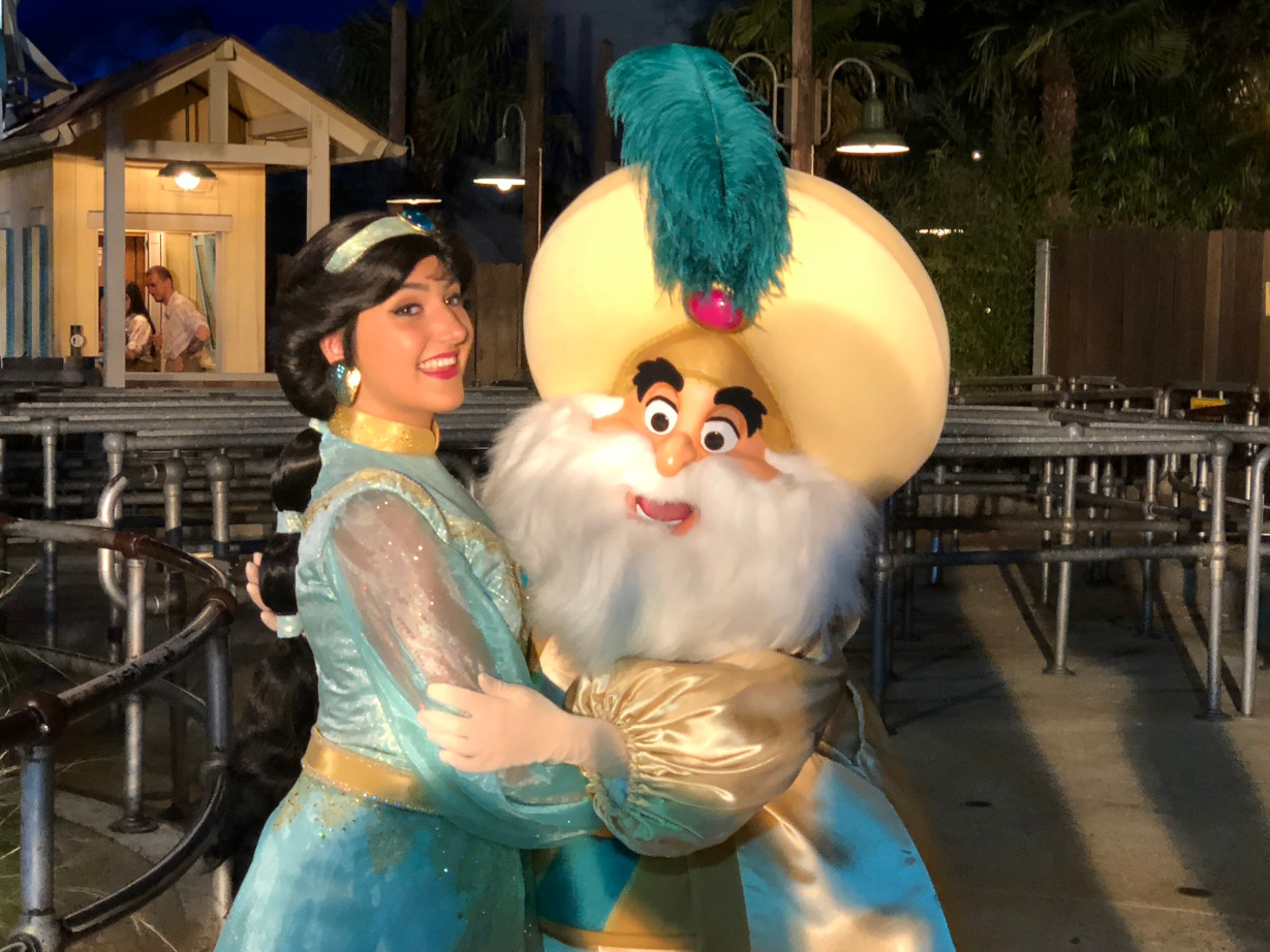 Jasmine and the Sultan at the Soirée Marvel at Disneyland Paris