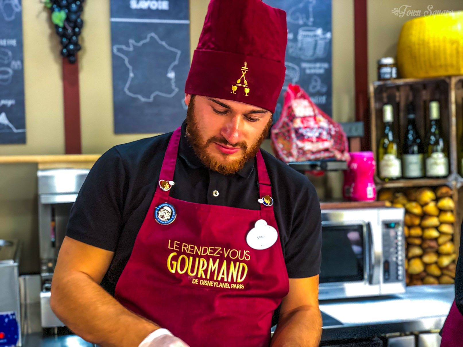 A Cast Member working at the Rendez-Vous Gourmand 2018 in Disneyland Paris