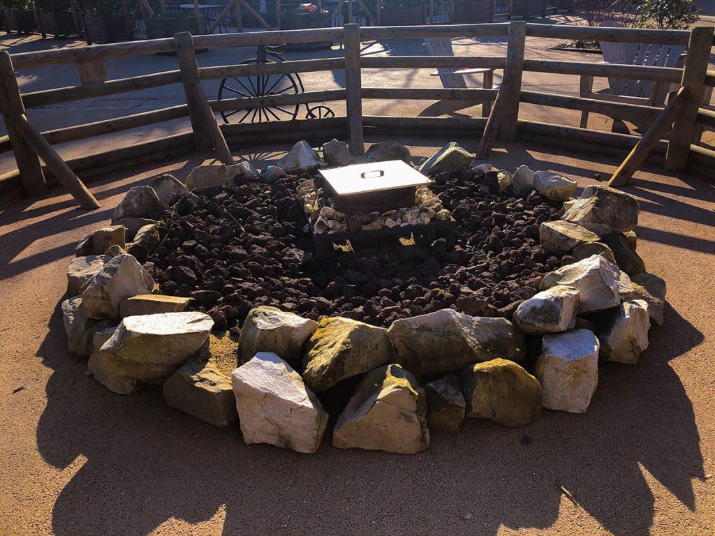 Central fireplace at Disney's Davy Crockett Ranch at Disneyland Paris