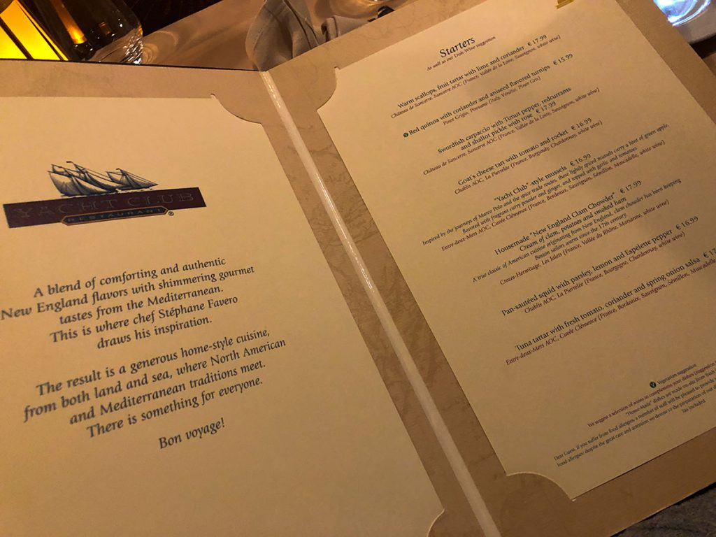 Yacht Club Menu at Disneyland Paris