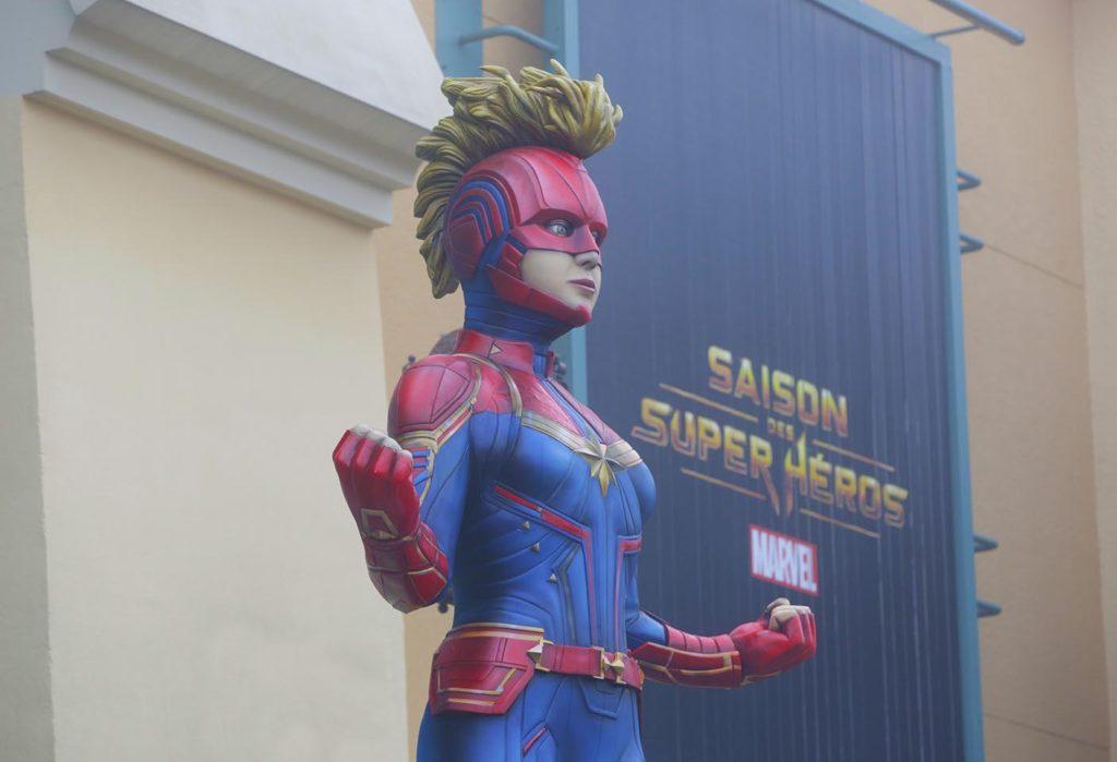 Captain Marvel statue in the Walt Disney Studios Park