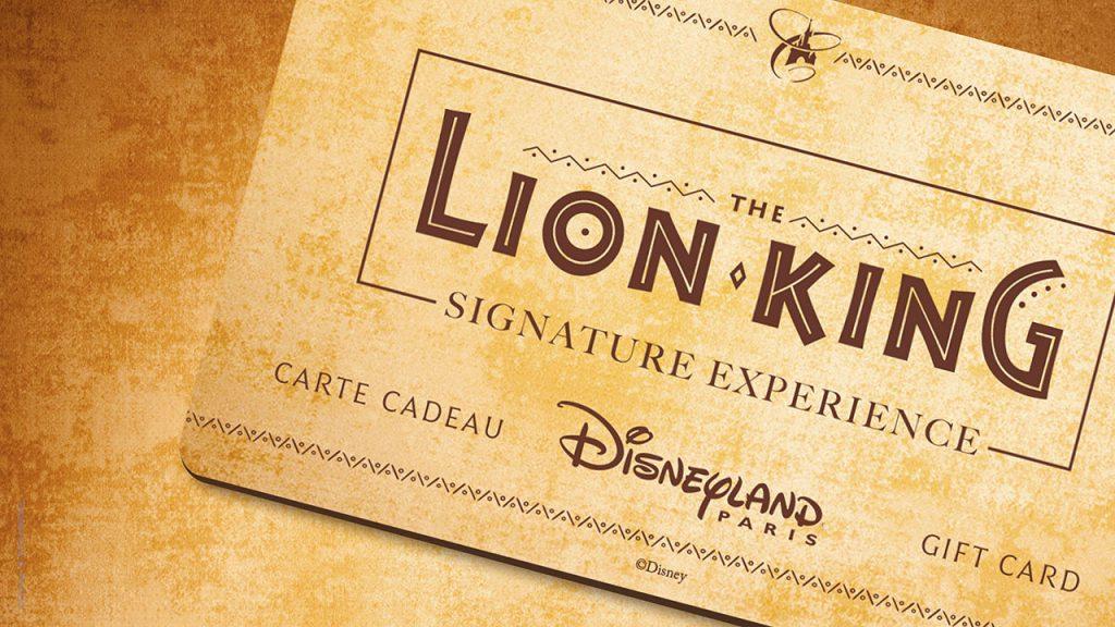 Lion King Signature Package gift card at Disneyland Paris