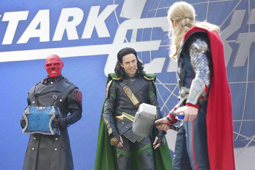 Red Skull, Thor at Loki in the Stark Expo presents: Energy for Tomorrow show