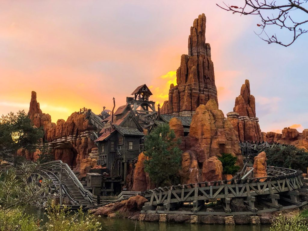 Big Thunder Mountain at sunset in Disneyland Paris