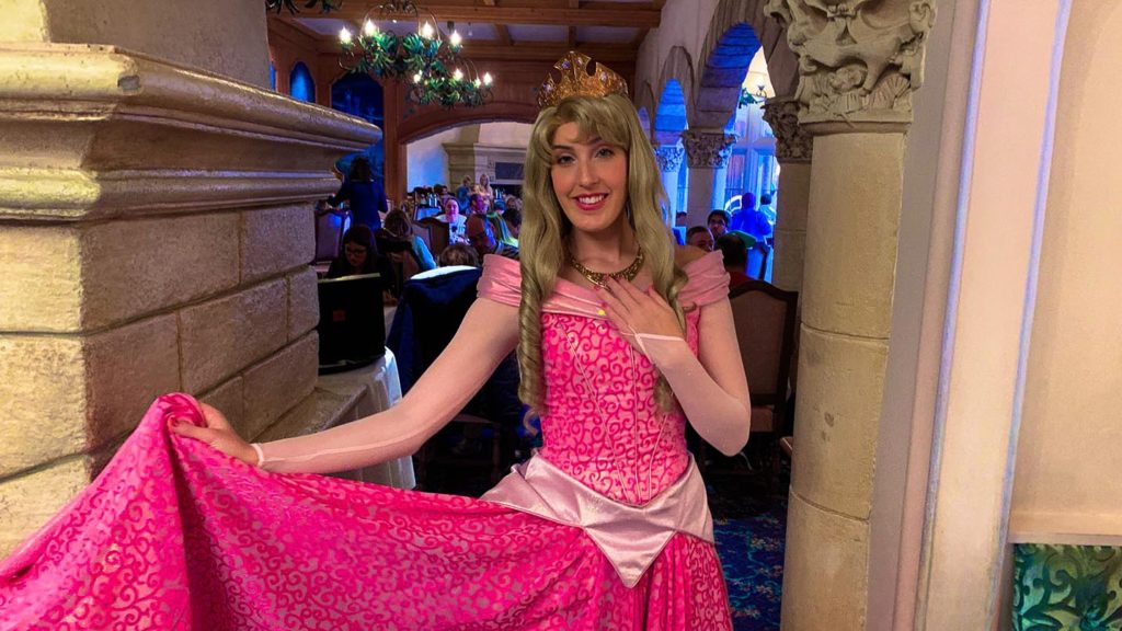 Aurora posing in a medieval castle looking doorway at the Auberge de Cendrillon at Disneyland Paris