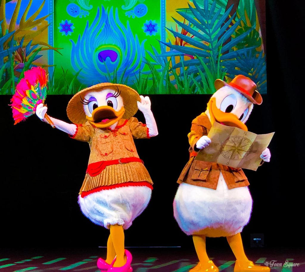 Donald and Daisy in their Jungle Book Jive outfits at Disneyland Paris
