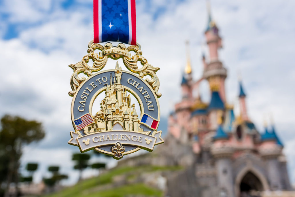 Castle to Chateau medal featuring the US and French flags