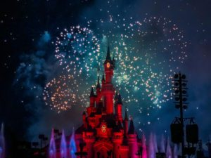 Fireworks in front of Sleeping Beauty Castle at Disneyland Paris during New Year's Eve