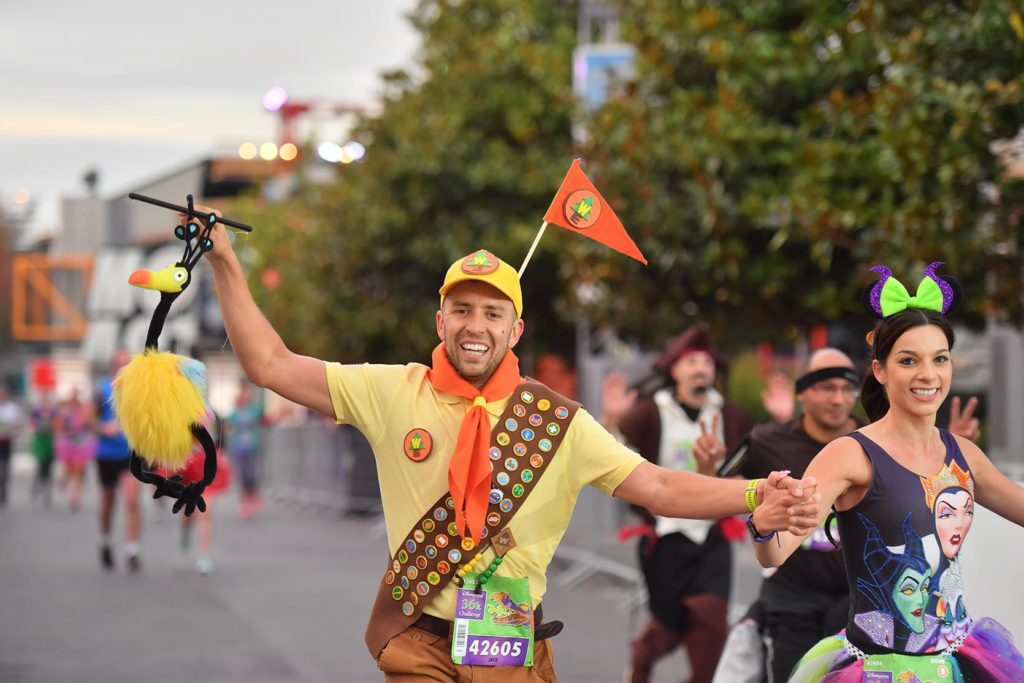 Runner dressed as Russel from Up during the Disneyland Paris Run Weekend 2018 5km race