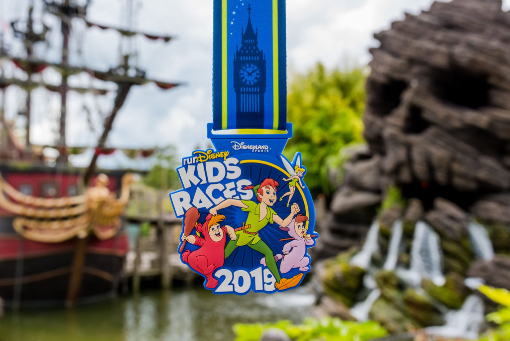 Peter Pan and the Lost Boys on a Neverland themed medal