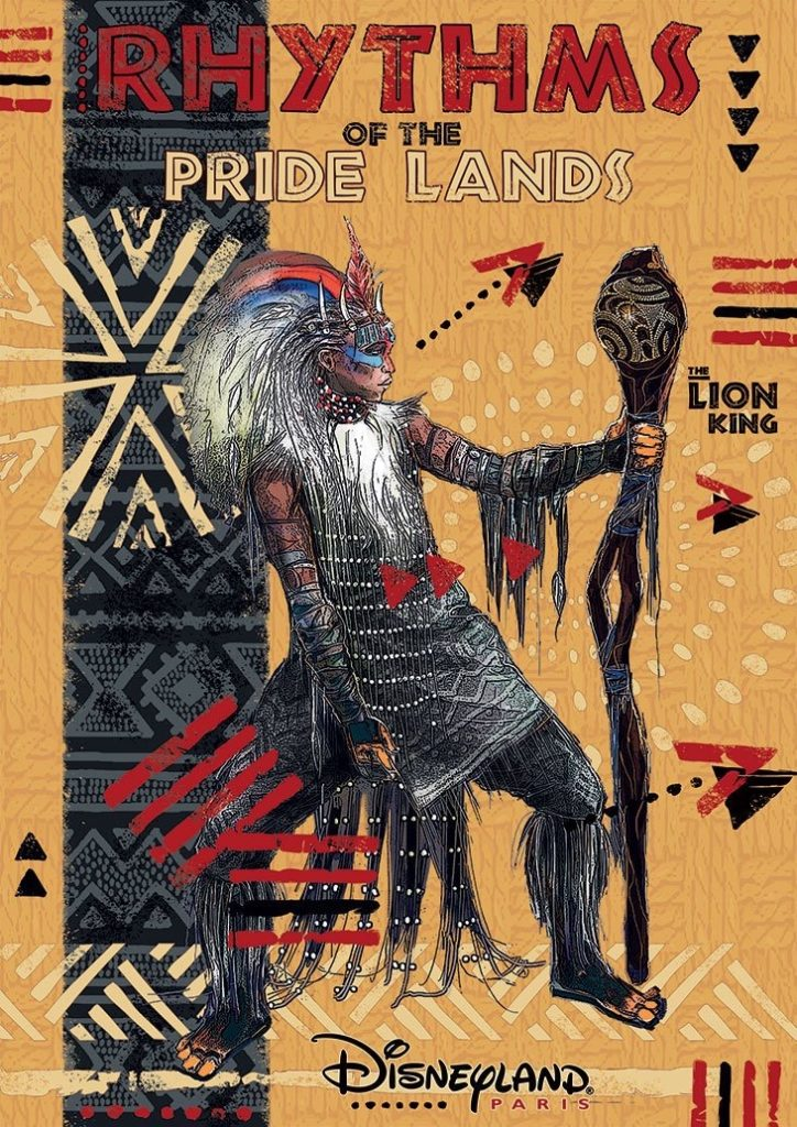 Rafiki stands against a yellow background in the Rhythm of the Pridelands official show poster