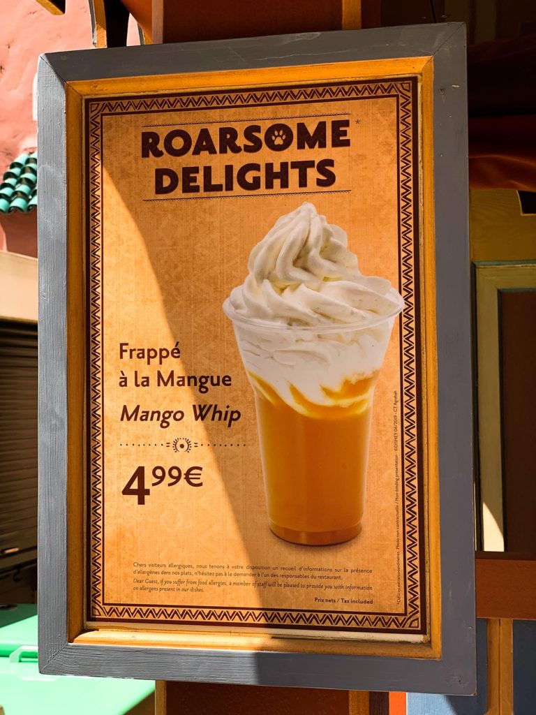 Mango Whip Menu Board at Disneyland Paris