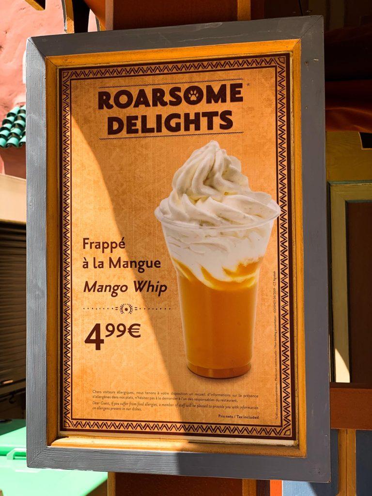 Mango Whip Menu Board at Disneyland Paris