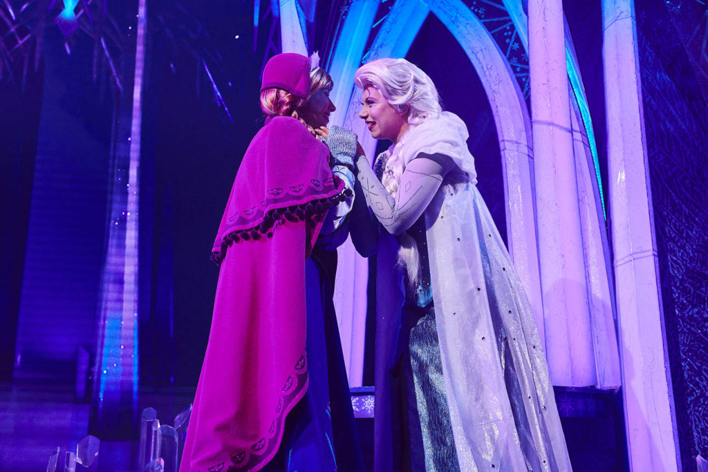 Anna and Elsa in the Ice Castle in Frozen: A Musical Invitation