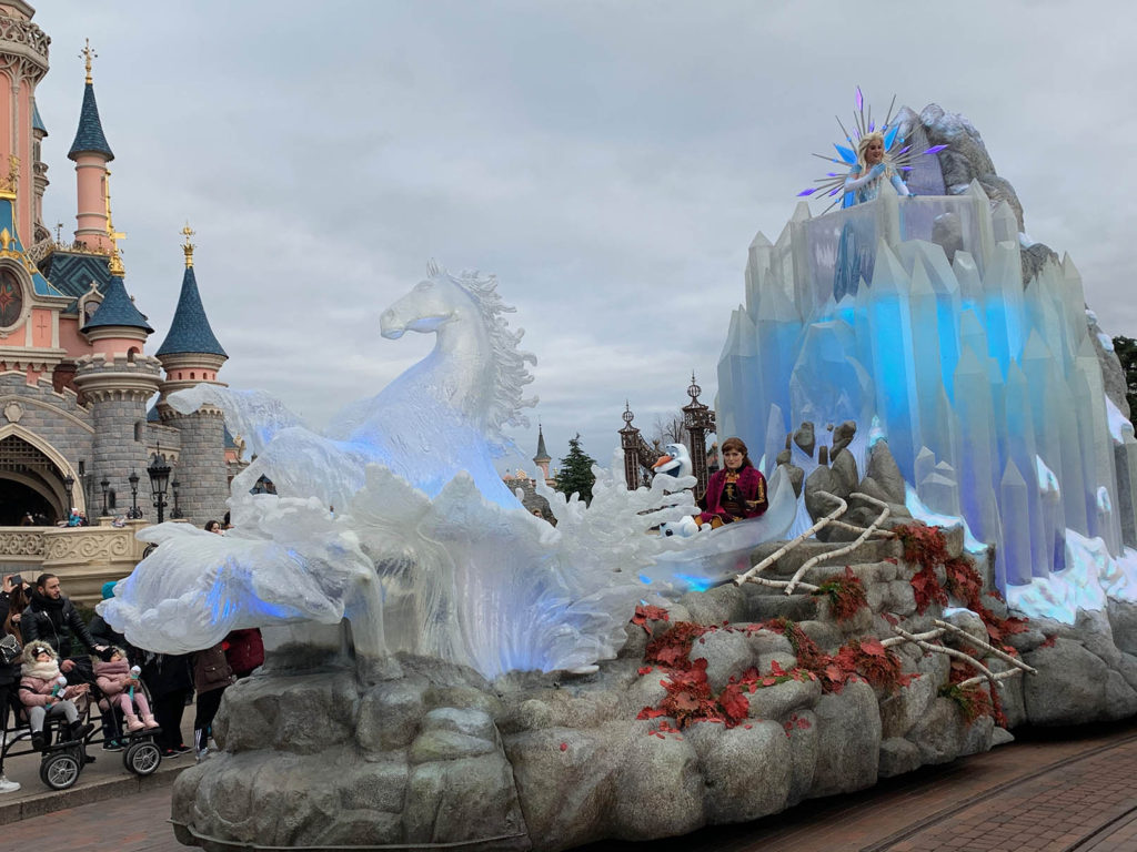 Frozen 2: An Enchanted Journey float featuring the Water Nook, Elsa, Anna and Olaf