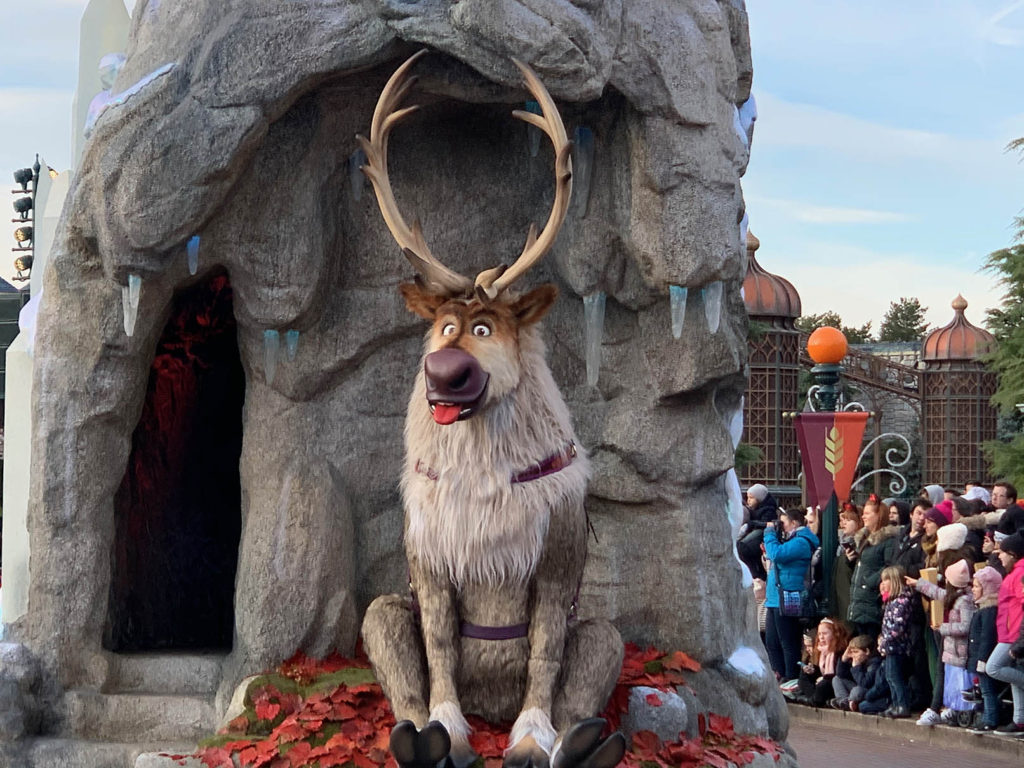 Frozen 2: An Enchanted Journey back of the float with Sven sticking his tongue out