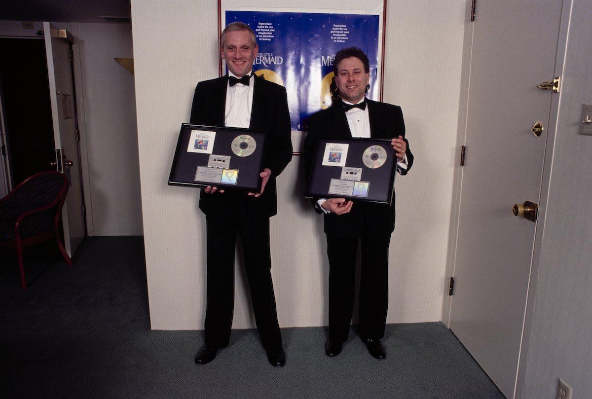 Howard Ashman and Alan Menken celebrating the successes of The Little Mermaid soundtrack. Photo: Disney