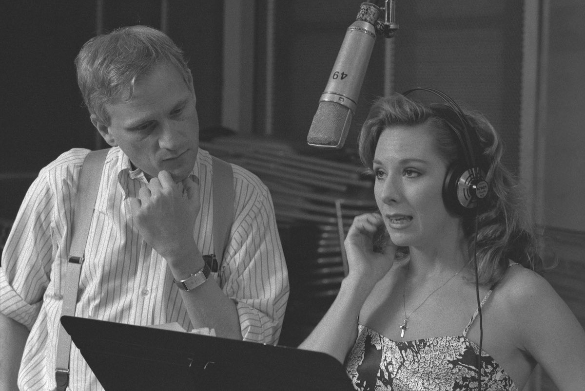 Howard Ashman with Paige O'Hara in the Beauty and the Beast recording sessions. Photo: Disney
