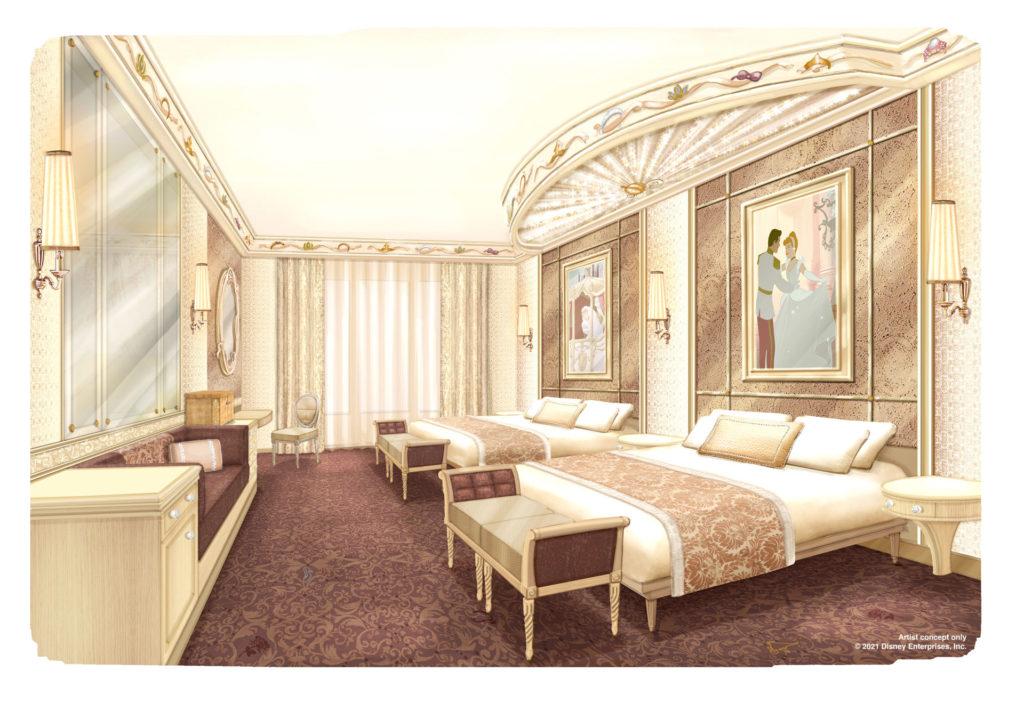 A refurbished Disneyland Hotel room featuring Cinderella images